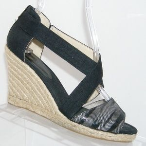 Nine West 'Nevayaho' black canvas textile heel 7M